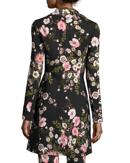 Bouquet-Print Mid-Length Coat, Black