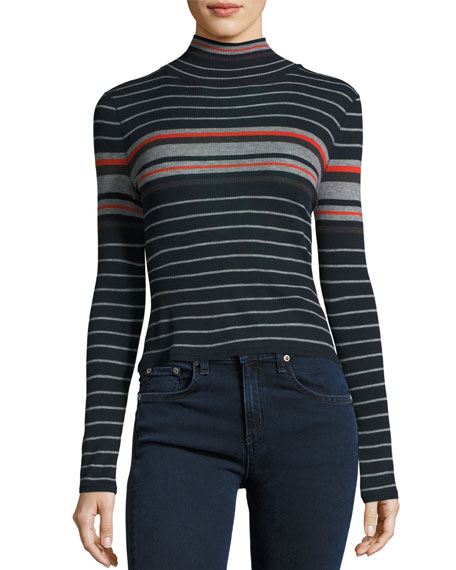 Fine Wool Turtleneck, Salute Stripe