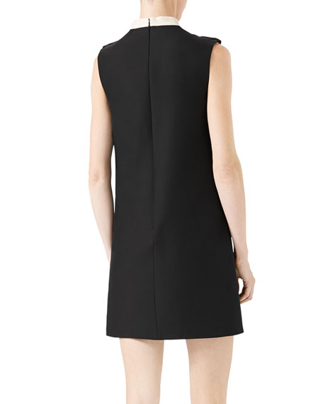 Floral-Embroidered Cady Crepe Dress, Black/White