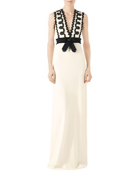 Gucci Sleeveless Jersey V Neck Gown With Lace Trim Whiteblack