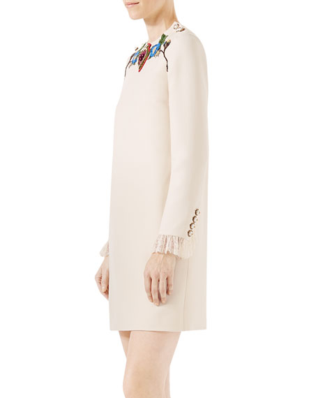 Embroidered Cady Crepe Wool-Blend Dress, Ivory