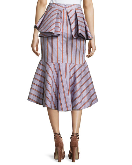 Striped Peplum Godet Skirt, Lilac