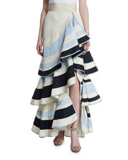 Ruffled Colorblock Faille Maxi Skirt, White