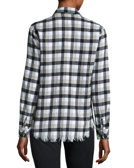 Perfect Plaid Fray-Hem Shirt, Black