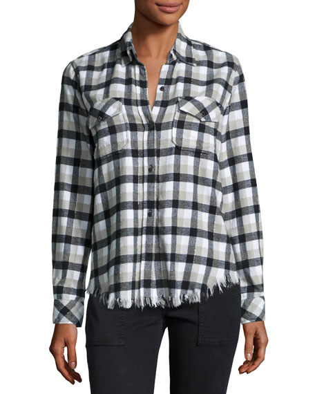 Current/Elliott Perfect Plaid Fray-Hem Shirt, Black