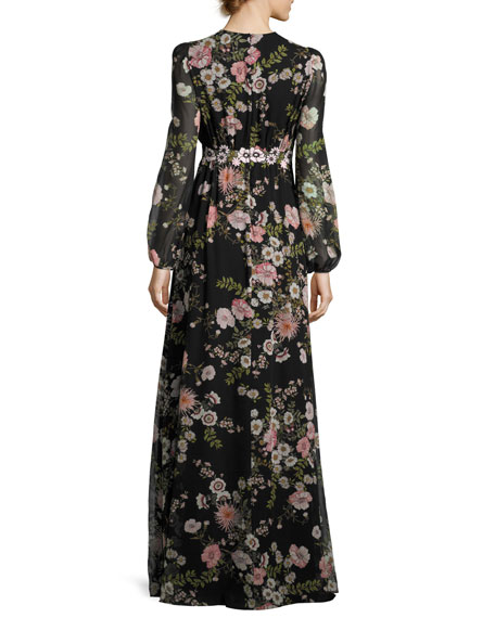 Long-Sleeve Anemone-Print Gown, Black