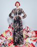 Long-Sleeve Anemone-Print Gown, Black