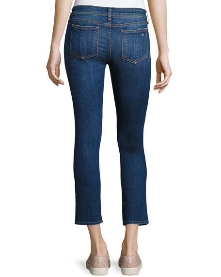 Distressed Mid-Rise Capri Jeans, Canyon