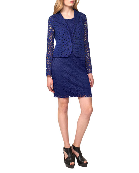 Irene Fitted Lace Jacket, Blue