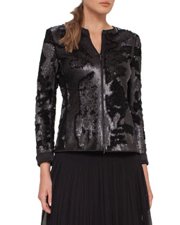 Harmony Sequined Zip-Front Jacket, Black