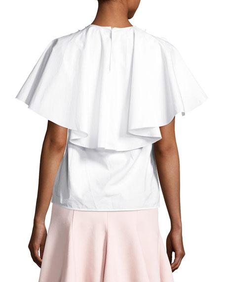 Poplin Lace-Bib Flutter-Sleeve Blouse, White