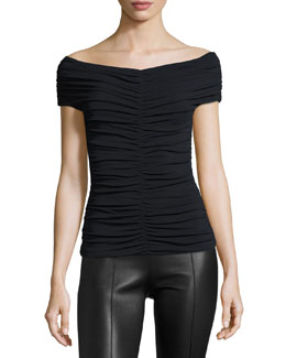 Ellas Ruched Cap-Sleeve Top
