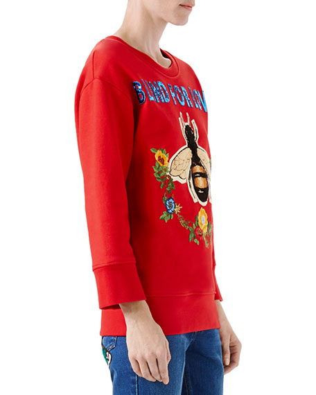 Cotton Jersey Blind For Love Sweatshirt, Red