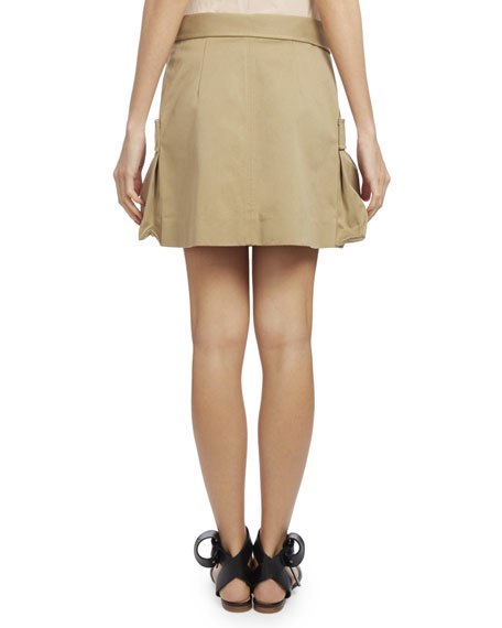 Asymmetric Canvas Cargo Skirt, Khaki