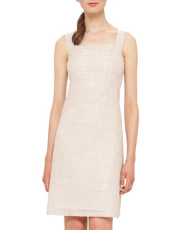 Cotton-Silk Sleeveless Sheath Dress, Neutral