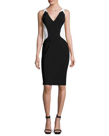 MUGLER COLORBLOCK SLEEVELESS V-NECK DRESS, BLACK/WHITE, BLK/OFF WH, BLACK WHITE