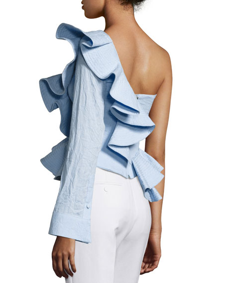 Madeira Crinkled Linen One-Shoulder Top, Blue