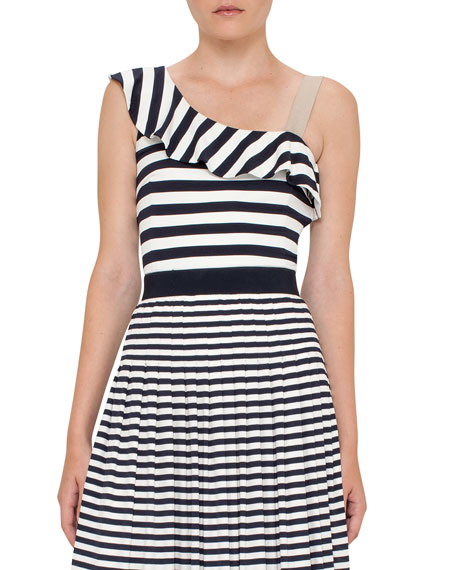 Striped Ruffled One-Shoulder Top, Navy/Cream