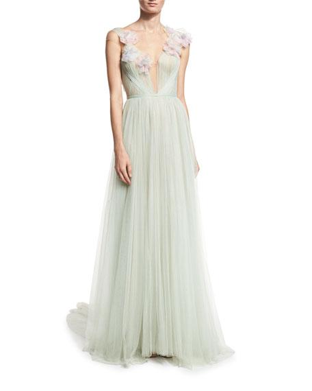 987972bc Marchesa Grecian Tulle Gown w/Organza Petals, Celery/Sage