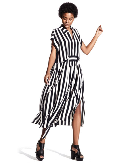 Striped Zip-Front Shirtdress, Black/White