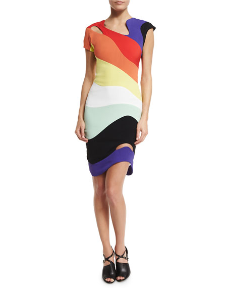 Asymmetric Rainbow Cady Dress, Multi