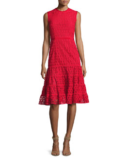 Sleeveless Macrame Tea-Length Dress, Red