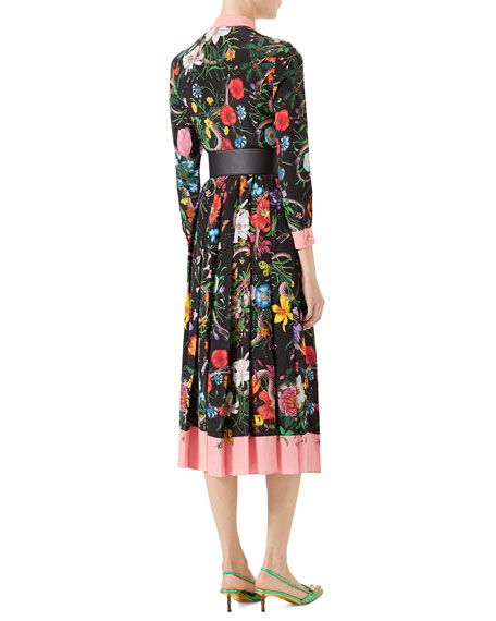 Wild Rose Flora Snake-Print Crepe de Chine Dress, Black