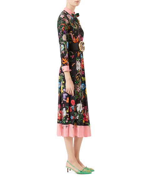 Wild Rose Flora Snake-Print Crepe de Chine Dress, Black