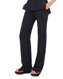 Marla Dot-Lace Pants, Navy