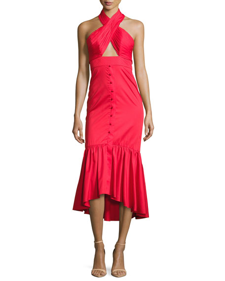 Poplin Crisscross Halter Midi Dress, Red