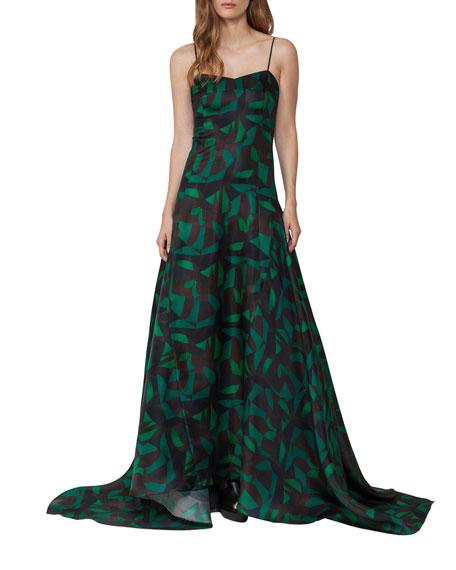 Akris Garden-Print Silk Organza Gown, Green
