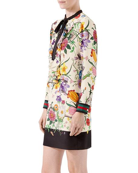 Floral-Print Silk Dress, Black