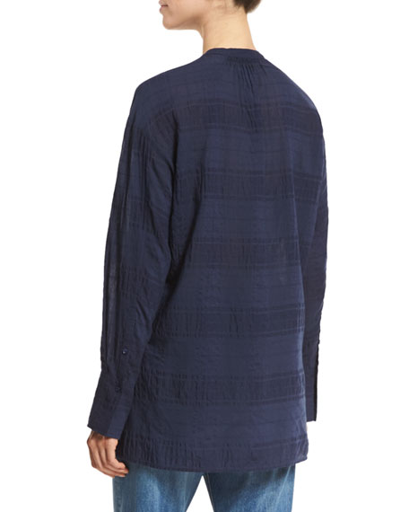 Tonal-Stripe Half-Placket Tunic