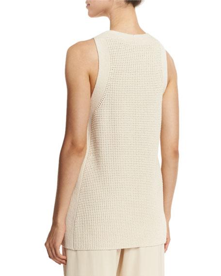 Waffle-Stitch Sleeveless Tunic Sweater, Off White