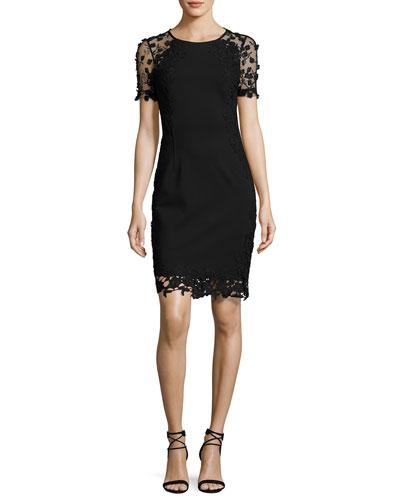 Yadira Crochet-Trim Sheath Dress, Black