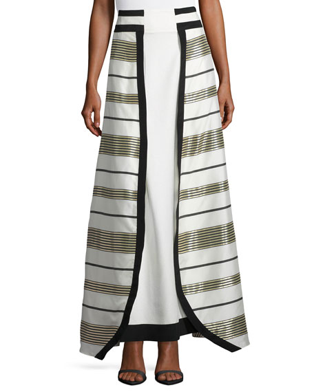 Graphic Metallic Stripe Maxi Skirt, Gold/White