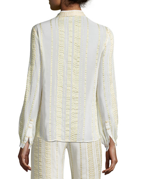 Hera Signature Metallic Textured Silk Blouse, Ivory