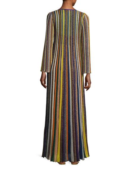 Metallic-Striped Long-Sleeve Gown, Multi