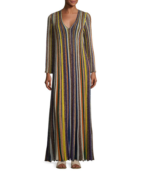 Metallic-Striped Long-Sleeve Gown, Multi