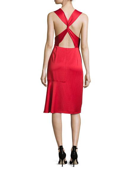 Sleeveless Crisscross-Back Satin Cocktail Dress, Red