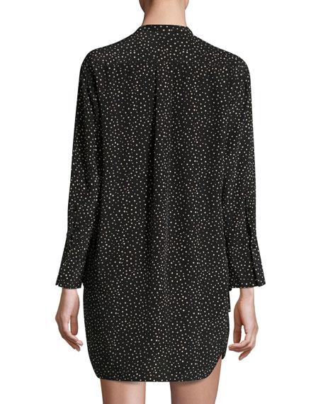 Long-Sleeve Polka-Dot Shift Dress, Black/Natural