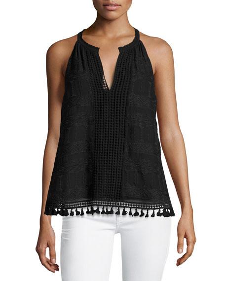 Eliska Crochet Lace Sleeveless Top, Black