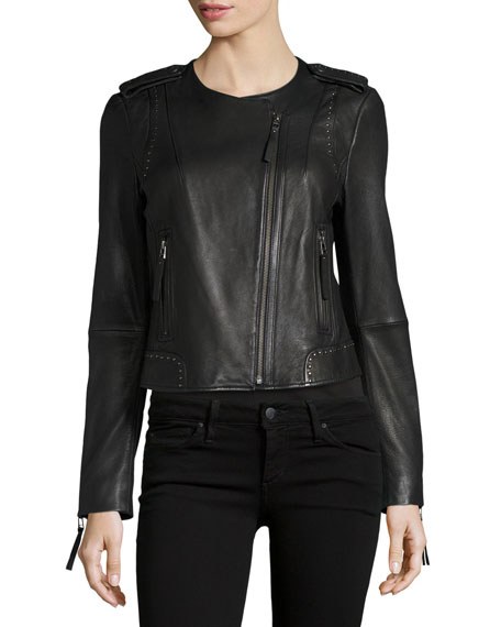 Margolin Studded Leather Moto Jacket, Black