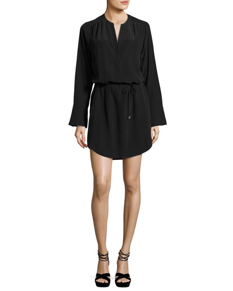 Arjun Bell-Sleeve Silk Dress, Black
