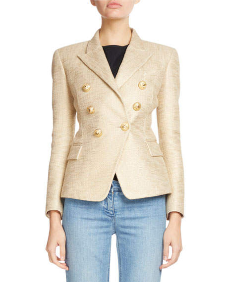 Balmain Classic Double-Breasted Tweed Blazer, Gold