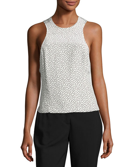 GREY by Jason Wu Silk Polka-Dot Twist-Back Tank,