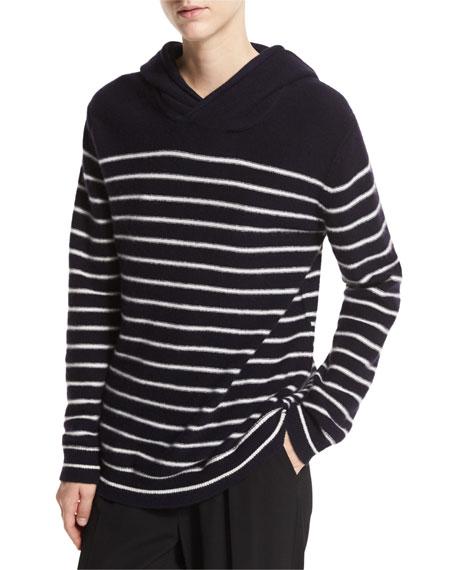 Breton-Stripe Cashmere Hoodie, Multicolor