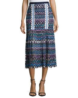 Diana C Chevron Lace Midi Skirt, Multicolor