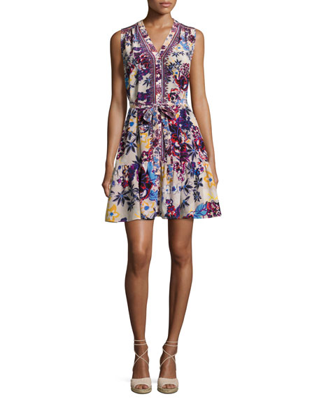Tilly-C Floral-Print Sleeveless Shirtdress, Beige/Multicolor