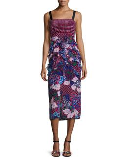 Dana Floral-Print Dotted Sleeveless Midi Dress, Chillipolka